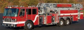 The Pierce quint purchased by Ukiah Fire Department carries a  75-foot heavy aluminum aerial ladder, a 1,750-gpm Waterous  single-stage pump  and a United Plastic Fabricating 300-gallon  Poly-Tank.