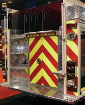 Chevron striping can be added to any fire apparatus to improve roadway safety.