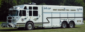 Monroeville (Pa.) Fire Department's Rescue 4 is equipped with  a portable 5,000-pound winch, which is shown stowed, at left,  and deployed, right.