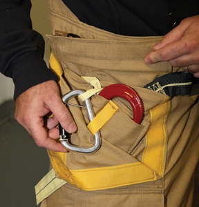 Fire-Dex's integrated harness system uses a non-removable pocket system to house the personal escape gear.