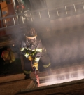 Globe Manufacturing displayed three versions of its internal harness pants, shown here being tested in a firefighting situation.