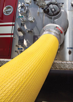 (4) All-American Hose also makes large-diameter hose (LDH) and is testing new LDH designs that address packability issues in hosebeds.