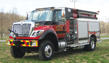 (3) The Maverick pumper-tanker that Rosenbauer furnished to the Waynesville (MO) Rural Fire Protection District carries a NH55 1,250-gpm pump with stainless steel plumbing and a 1,500-gallon water tank.