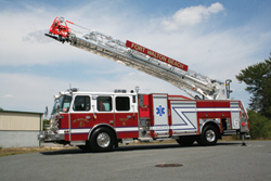 (1) E-ONE introduced an HP78 eMAX aerial ladder on a Typhoon long cab at FDIC, built for the Fort Walton Beach (FL) Fire Department.