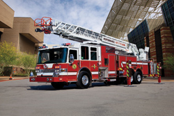 (3) Pierce Manufacturing introduced an extension of its Dash CF line with a 105-foot heavy duty PUC aerial truck.
