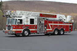 (6) KME introduced a new 123-foot AerialCat rear-mount ladder, built for the Westfield (IN) Fire Department, that has a 114-foot horizontal reach.