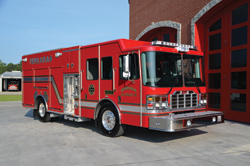 (7) Ferrara debuted the Ember Heavy Rescue Pumper at FDIC, a 186-inch-wheelbase vehicle on an Ember custom chassis that carries an oversized hosebed.