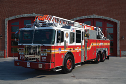 (8) One of the Fire Department of New York's (FDNY) new Ferrara FD-100 rear-mount aerial ladders, built on an Ultra custom chassis, was on display at FDIC.