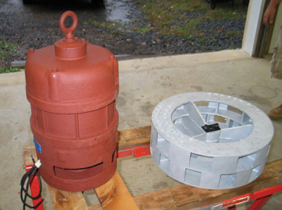 (3) Here the rebuilt 10-horsepower (hp) 230-V three-phase SD-10 motor and blasted and painted impeller are shown.