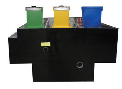 (6) This tank is equipped with color-coded fill towers: one for water and two for foam. A notch is in the upper left-hand corner.