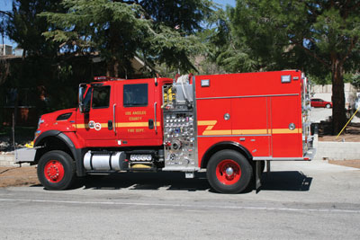 (1) KME built this Type 3 wildland unit with a 750-gpm pump and a 700-gallon water tank for the Los Angeles County (CA) Fire Department.