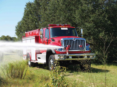 (5) Spartan ERV's most popular wildland vehicle is this MPX on an International four-door chassis with a rear-mount pump.