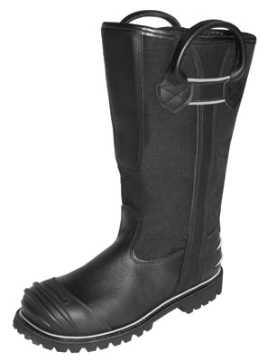 (1) Honeywell Safety Products recently introduced two new boots, the Pro Series 5007 leather structural firefighting boot (shown) and the Ranger Air Model 1000 lightweight rubber firefighting boot.