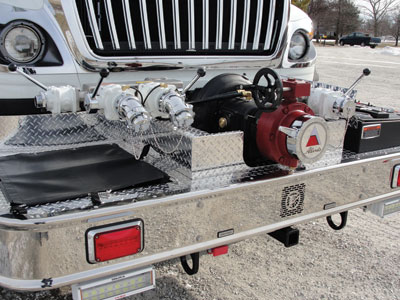 (2) Weltonville Fire Company's, Candor, New York, Alexis urban interface wildland pumper carries a Hale HFM125 front-mounted 1,250-gpm pump with a pump panel on the front bumper deck.