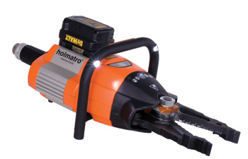 (4) Holmatro's BCT 4120 combination tool is battery-powered, weighs 34 pounds, and operates at a maximum pressure of 10,500 psi.