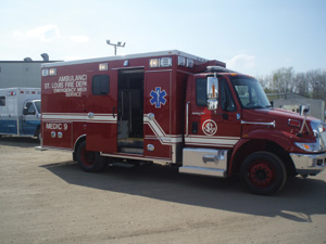 (3) McCoy Miller built this medium duty ambulance for the St. Louis (MO) Fire Department with a sliding door so when attendants exit the vehicle, the door doesn't extend far from the body, which is important if the ambulance is parked close to another vehicle or near the guardrail on the side of a road.