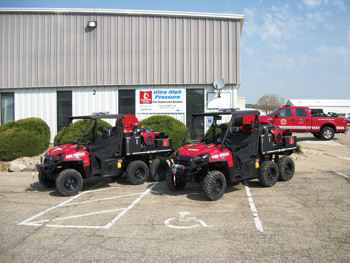 (4) HMA Fire recently furnished the United States Navy with utility terrain vehicles (UTVs), mounting UHP skid units that can put out 20 gpm with 1,200 psi at the nozzle.