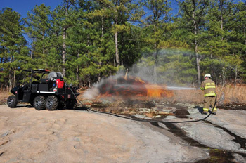 (5) A firefighter uses an HMA Fire UHP on a UTV to fight a wildland fire.