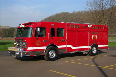 4 Guys/Spartan-Dunlo No. 1, Adams Township Volunteer Fire Company, Dunlo, PA,   rear top-mount pumper
