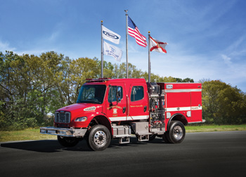 Pierce Manufacturing built this Type III wildland vehicle for the Alameda County Fire Department on an International Navistar chassis with a 500-gpm Darley pump and a 500-gallon water tank.