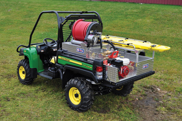 Kimtek Corp. makes the FireLite, a utility terrain vehicle adapted for wildland use, which also doubles as a wildland rescue vehicle since it can carry a litter or Stokes basket in its skid unit area.