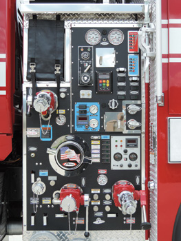 The WUI unit for the Taos (NM) Fire Department features a compact pump panel.