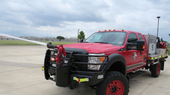 Akron Brass Forestry monitor on its Ford-F550 extended cab 4x4 brush truck that carries a Hale HPX200 200-gpm pump, a 325-gallon water tank, and a 20-gallon foam cell