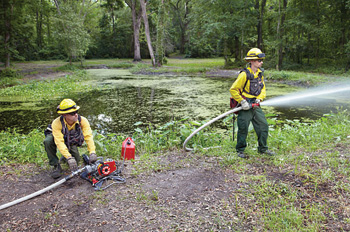 Wildland firefighters use a Hale Products HP75 portable pump that puts out 15 gpm at 325 psi for wildland use.