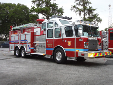 This custom industrial pumper was built by E-ONE for the Yanpet Fire Department in Riyadh, Saudi Arabia