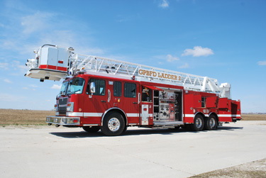 Smeal Fire Apparatus produced this industrial 100-foot rear-mount aerial platform for BP Exploration Inc., in Prudhoe Bay, Alaska