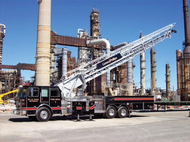 Sutphen Corp. built this 110-foot midmount industrial aerial ladder for Conoco Phillips Wood River Refinery
