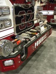 The rolled tops on the preconnect hose wells on this pumper facilitate hose removal without snagging couplings