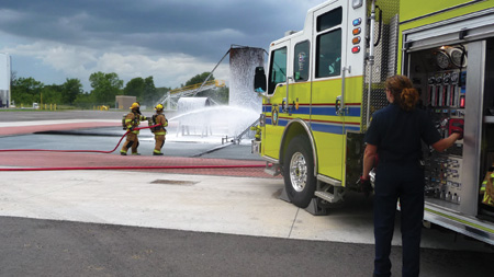 This pumper has a Darley 1,500-gpm pump, 750-gallon water tank, 20 gallons of Class A foam, and 30 gallons of Class B foam