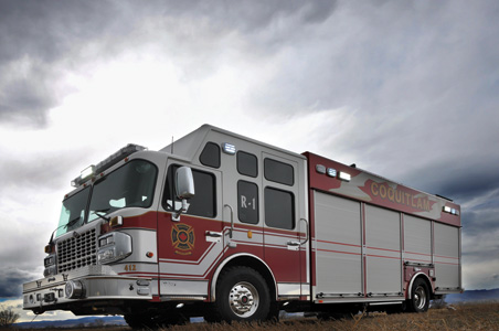 walk-around style rescue truck, built by SVI Trucks for the Coquitlam Fire Department, in Vancouver, British Columbia, Canada