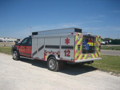 Unruh Fire built a medium rescue on a Ford F-550 chassis with a rear-mounted CAFS system