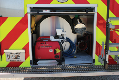 The rescue-pumper's rear compartment