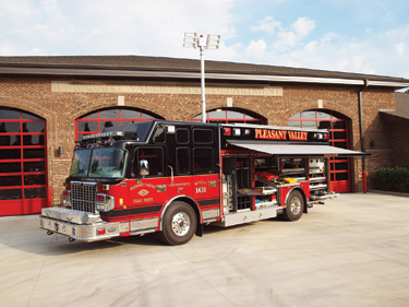 This custom chassis Spartan ERV rescue truck was built for the Pleasant Valley (SC) Fire Department.