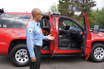 RRVs-a GMC Yukon with the back seat removed to carry medical equipment and gear for two firefighters.