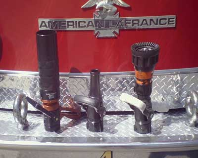 Shown here are various nozzles. All will allow high flows on interior attack lines