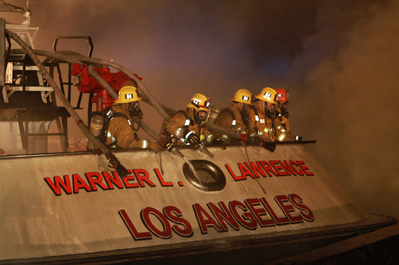 LAFD Fire Boats Operate at a Recent Los Angeles (CA) Wharf Fire