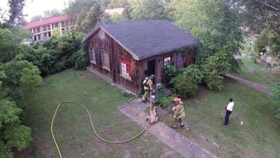 2 The Decatur (GA) Fire Department trains on house fire entry procedures as seen from a UAV. (Photo courtesy of Atlanta Drone Consultants