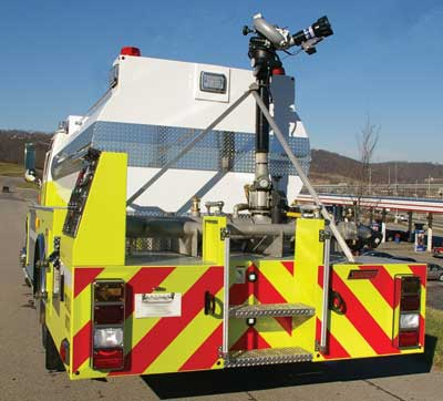 5 The Bromley (KY) Fire Department's foam tanker mounts a Task Force Tips 1,500-gpm Hurricane deck gun that's remote controlled