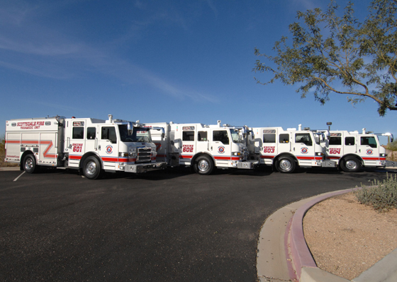 Pierce has placed four Pierce® Impel™ pumpers on duty with the Scottsdale Fire Department (SFD) in Scottsdale, Arizona, and two more will be delivered in April 2015.  All six utilize the Pierce Ultimate Configuration (PUC) pump system.