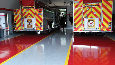 Rhino Pro Flooring put a three-coat polyaspartic finish on this drive-through station for the West Area Fire Department, in Fayetteville, North Carolina. (Photo courtesy of Rhino Pro Flooring.)