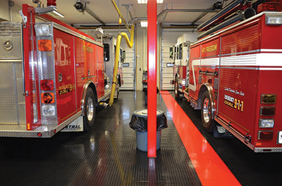Randolph Township Fire Department Mt. Freedom Company #3, in Randolph, New Jersey, had Armor-Tuff Fire House Flooring install Supratile as the covering for its station floor. (Photo courtesy of Armor-Tuff Fire House Flooring.)