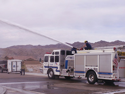 Shown here is a Vindicator Master Attack nozzle flowing 1,000 gpm.