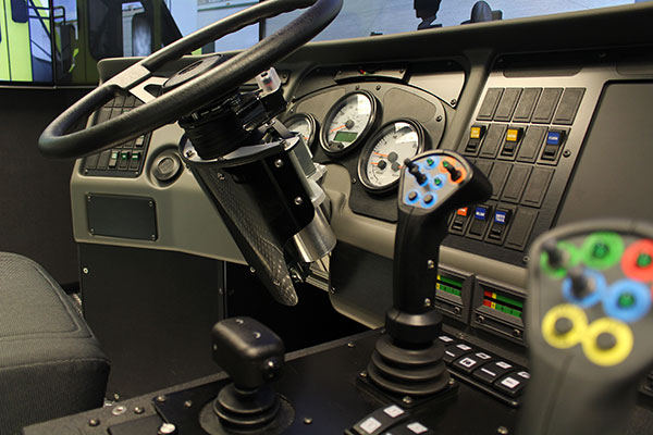 Interior view of the Oshkosh Striker Simulator