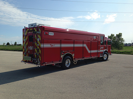 Pierce Manufacturing Inc. built this three-door-cab hazmat truck for the San Diego (CA) Fire Department. The vehicle has a walk-in command area and a walk-around body. (Photo courtesy of Pierce Manufacturing Inc.)