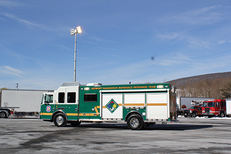 KME built this hazmat truck for the Vermont Hazardous Materials Response team. The single-rear-axle truck has a command area up front and walk-around storage at the back. (Photo courtesy of KME
