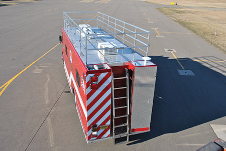 Custom Fire Apparatus built this hazmat truck for Marathon Oil Company in Detroit, Michigan. Note the vehicle has an electric deployable hand railing around the perimeter of the top of the vehicle. (Photo courtesy of Custom Fire Apparatus.)